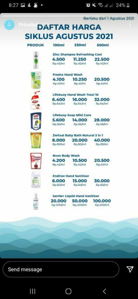 daftar harga barang di siklus refill