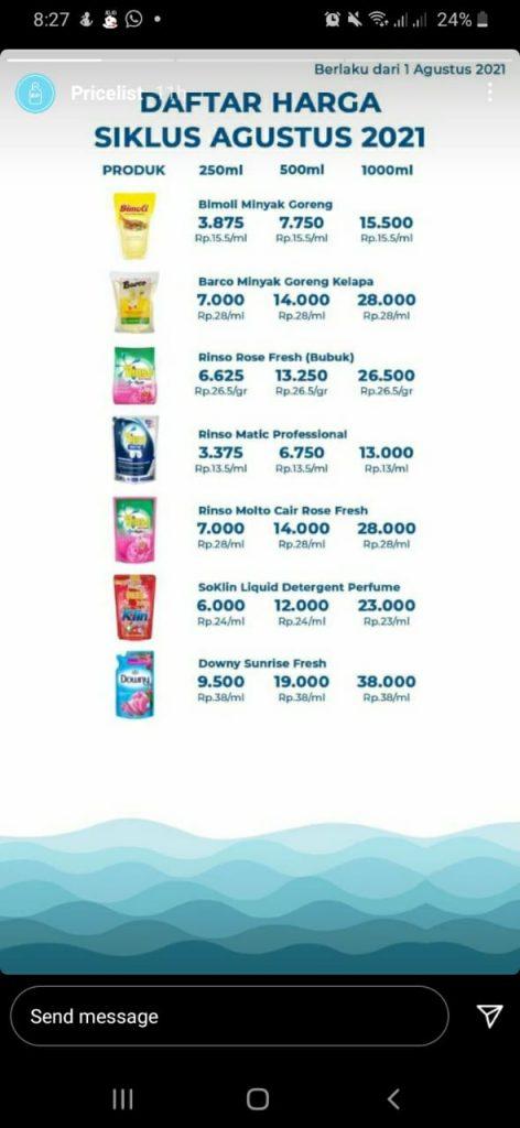 daftar harga produk di siklus refill