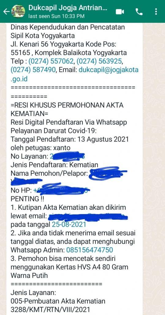 resi akta kematian online di Jogja